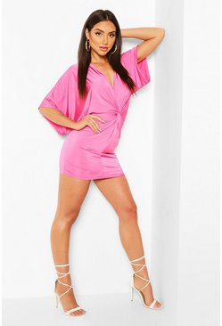 Disco Slinky Twist Front Mini Dress, Pink