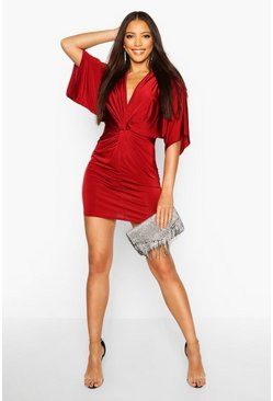 Disco Slinky Twist Front Mini Dress, Wine, Donna