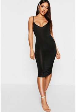 Black Disco Slinky Plunge Neck Midi Dress