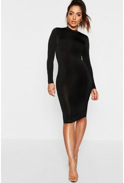 Womens Black Long Sleeve Disco Slinky Bodycon Dress