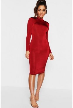 Long Sleeve Disco Slinky Bodycon Dress, Wine, Donna