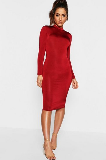 Womens Wine Long Sleeve Disco Slinky Bodycon Dress