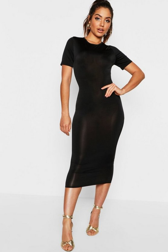 Disco Slinky Cap Sleeve Midi Bodycon Dress
