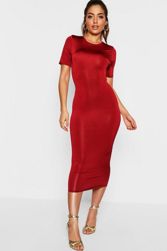 Womens Wine Disco Slinky Cap Sleeve Midi Bodycon Dress