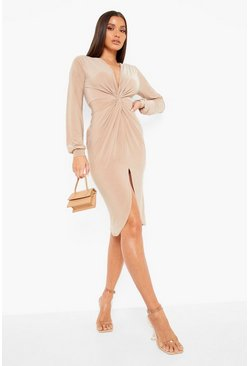 Stone Disco Slinky Twist Front Wrap Dress