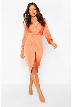 Tangerine Disco Slinky Twist Front Wrap Dress
