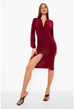Womens Wine Disco Slinky Twist Front Wrap Dress