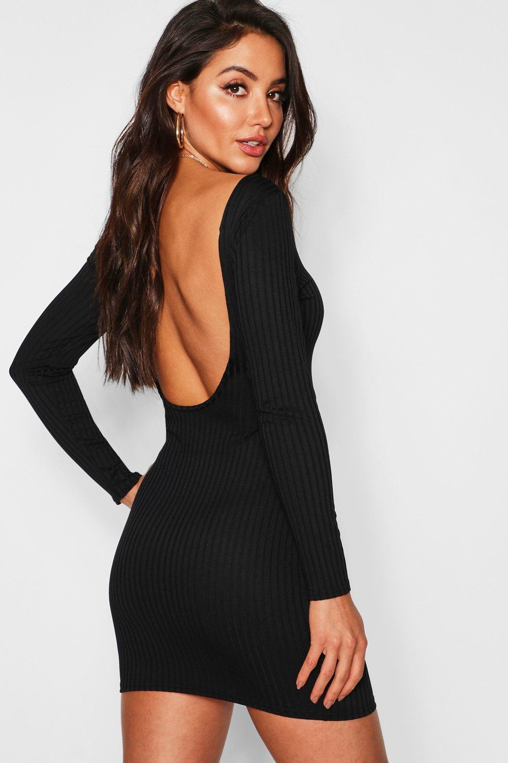 Jumbo Rib Long Sleeve Backless Mini Dress