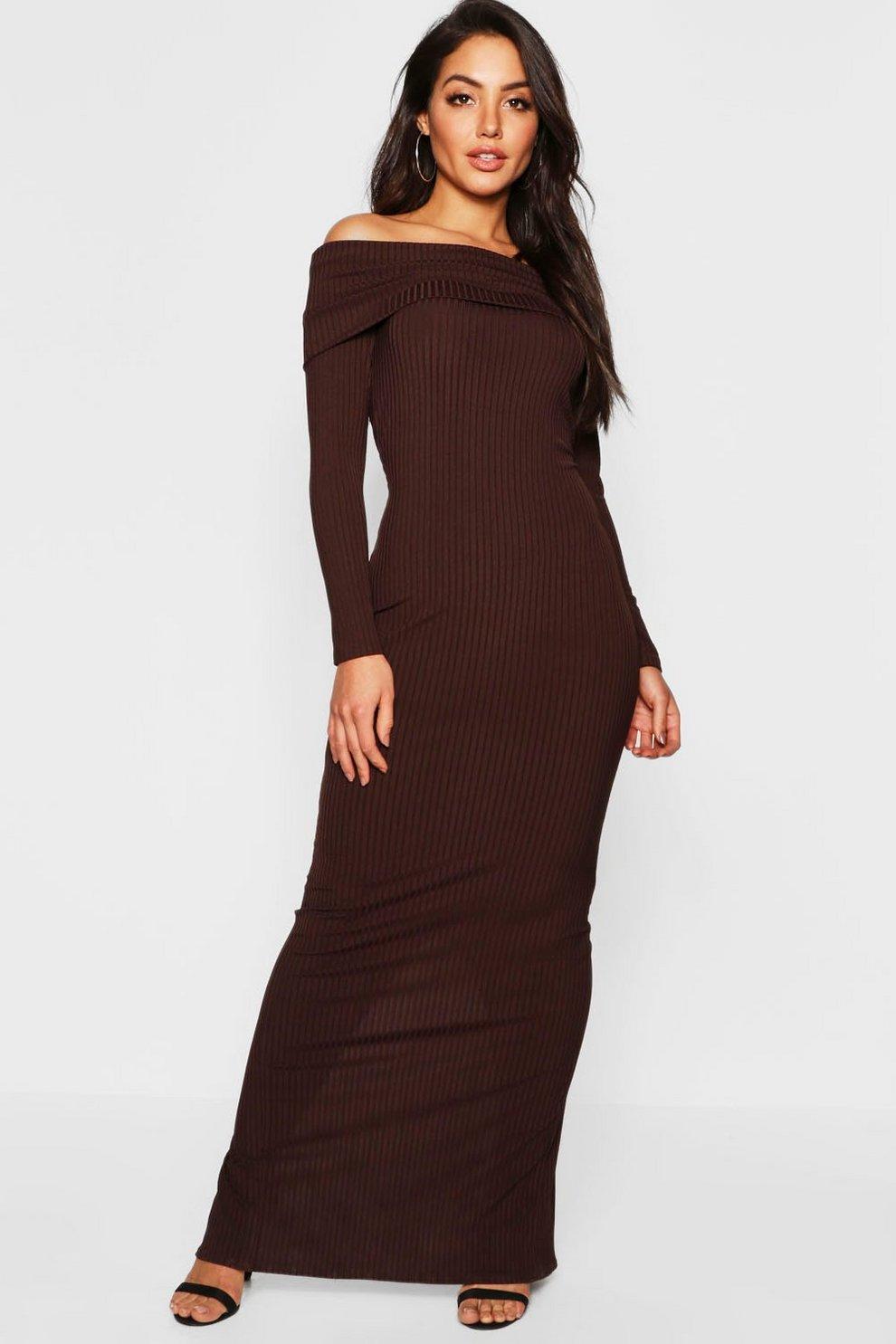7ef53a6b9514 Jumbo Rib Bardot Maxi Dress