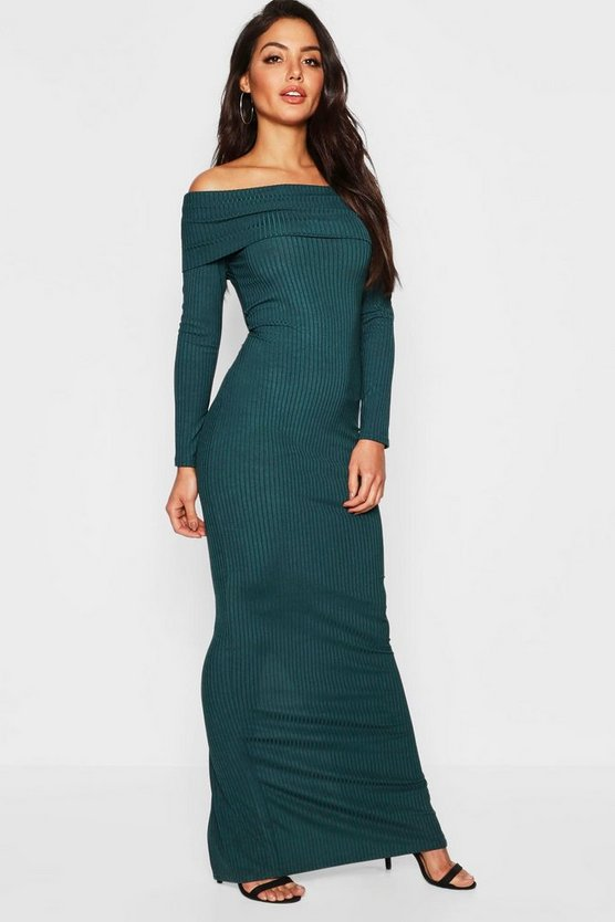 Jumbo Rib Bardot Maxi Dress