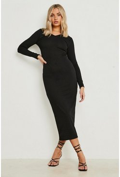 Jumbo Rib Notch Neck Midaxi Dress, Black