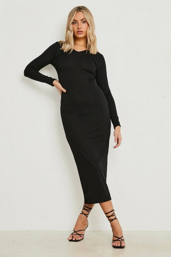 Womens Black Jumbo Rib Notch Neck Midaxi Dress