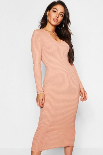 Peach Jumbo Rib Notch Neck Midaxi Dress