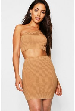 Womens Camel Jumbo Rib One Shoulder Crop & Mini Skirt
