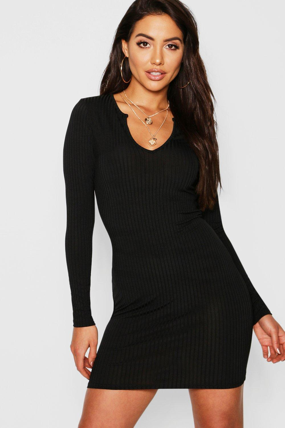 Jumbo Rib Notch Neck Long Sleeve Mini Dress