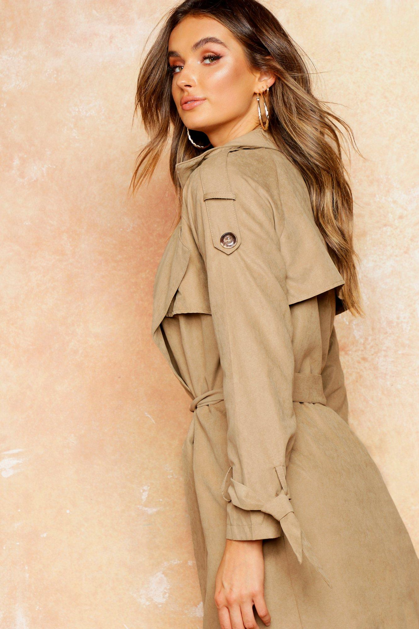 womens belted trench - beige - l