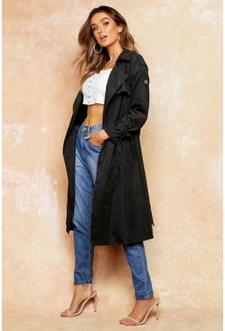 Womens Black Belted Trench