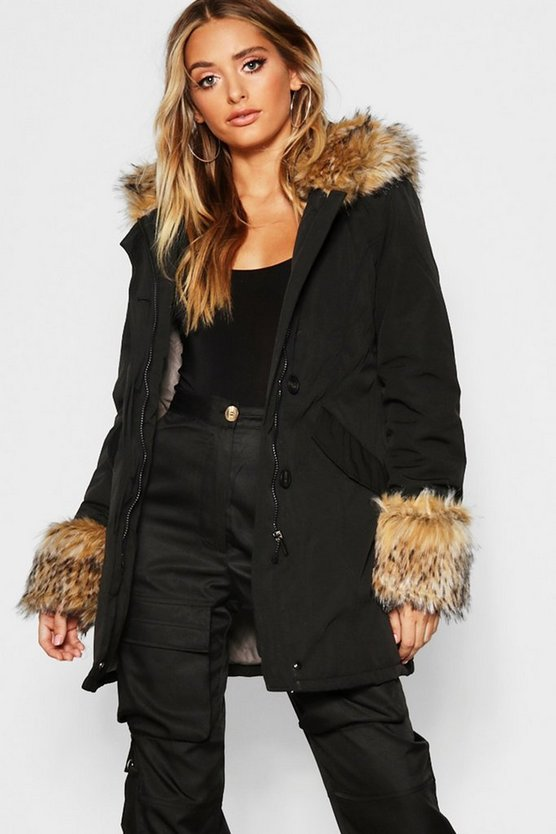 Womens Black Faux Fur Hood And Cuff Parka