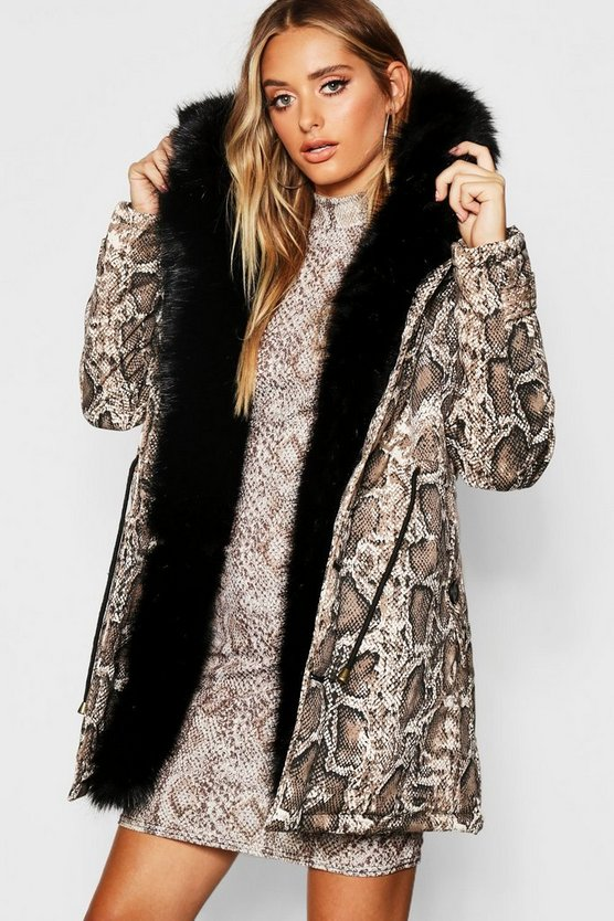Womens Brown Premium Snake Print Parka With Faux Fur Trim
