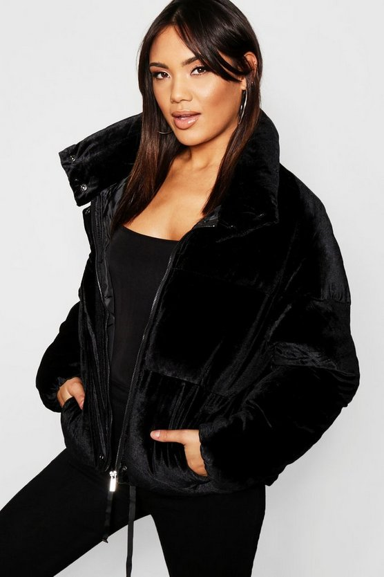 Womens Black Velvet Puffer Jacket