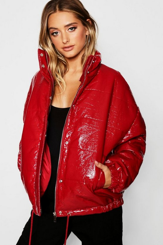 Womens Red Patent Padded Jacket