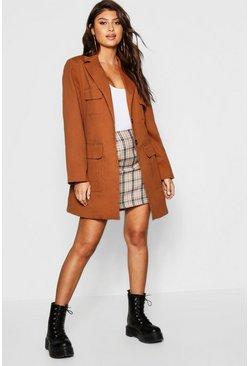 Womens Tan Belted Pocket Utility Jacket