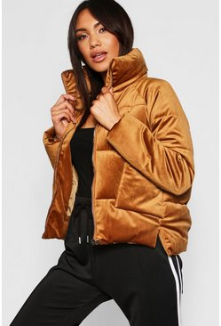 Womens Tan Velvet Funnel Neck Puffer
