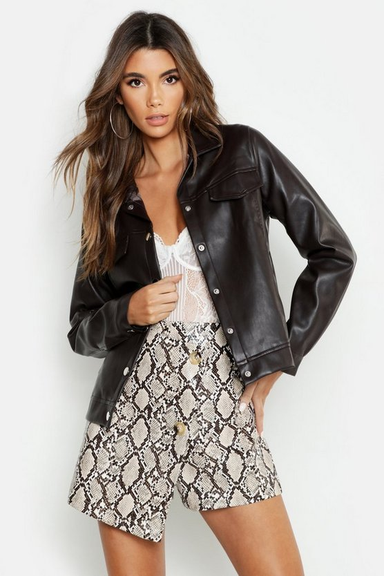 Womens Chocolate Faux Leather Trucker Jacket