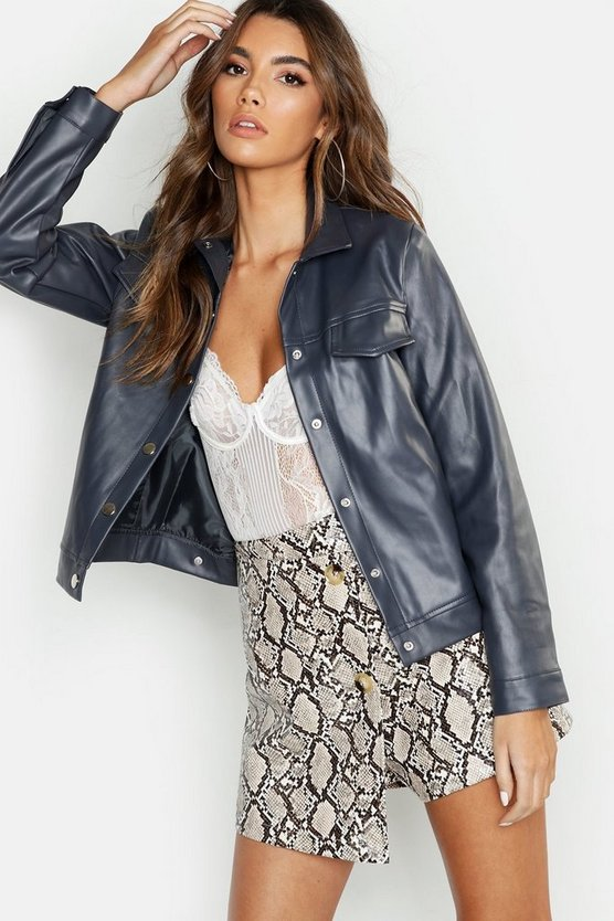 Faux Leather Trucker Jacket, Grey, Donna