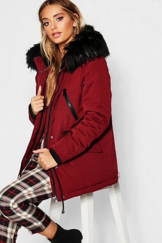 Technical Faux Fur Trim Parka