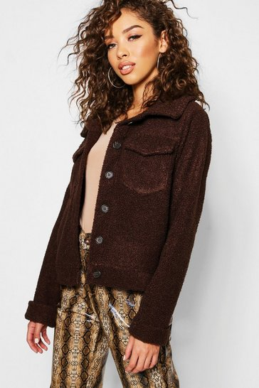 Womens Chocolate Teddy Faux Fur Trucker Jacket