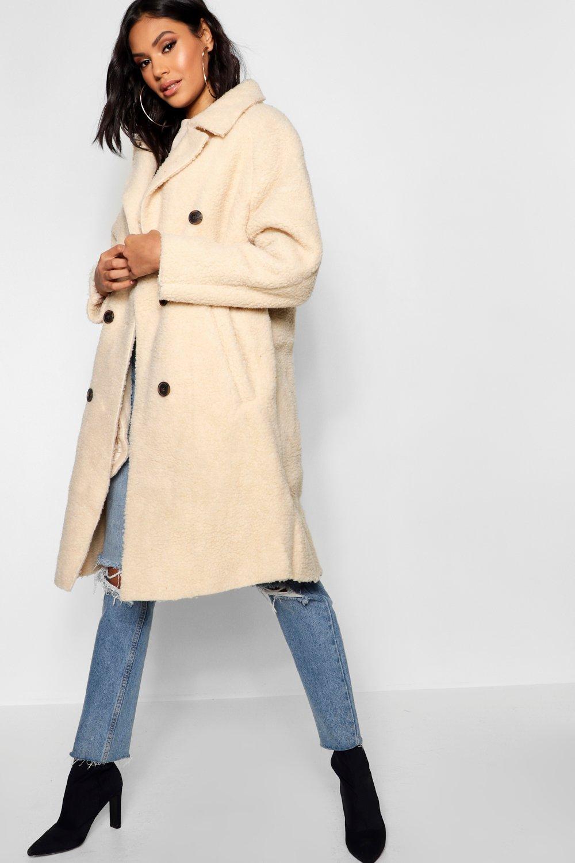 Oversized, zweireihiger Mantel aus Teddy Kunstpelz | Boohoo