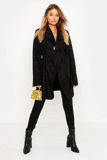 Womens Black Shawl Collar Belted Boucle Coat