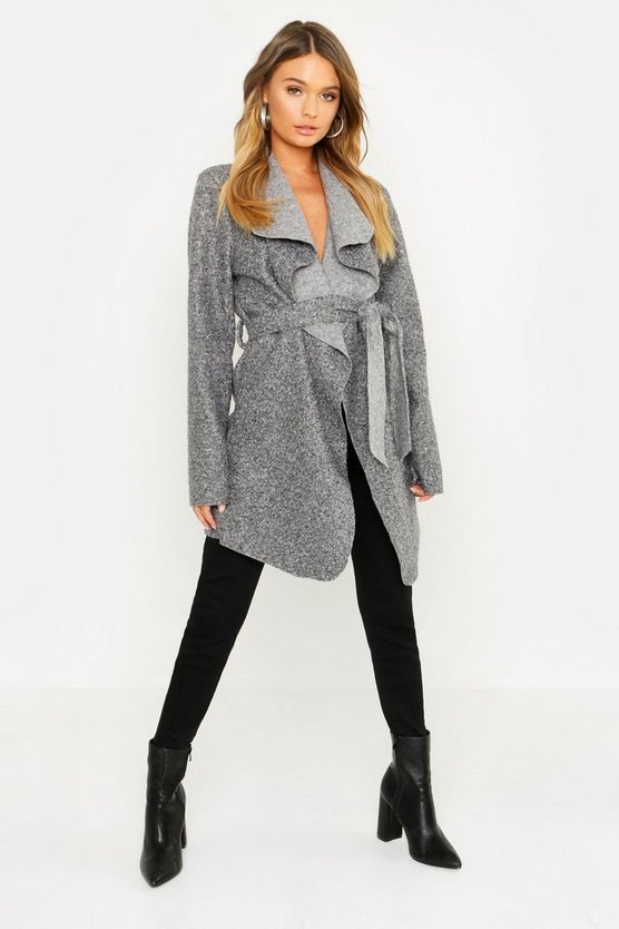 Shawl Collar Belted Boucle Coat