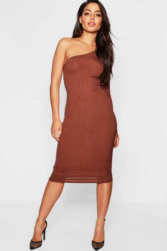 Womens Mocha Jumbo Rib One Shoulder Midi Dress