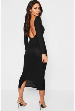 Womens Black Jumbo Rib Long Sleeve Backless Midaxi Dress