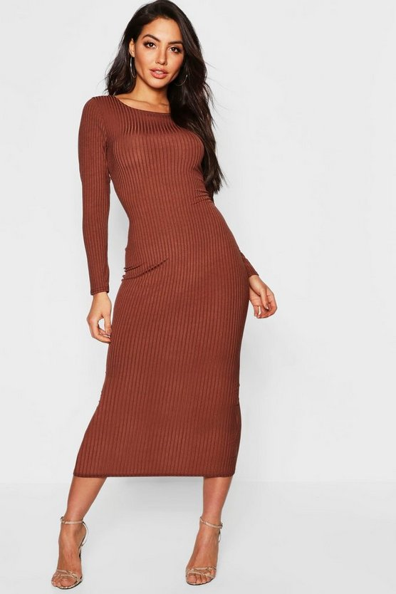 Jumbo Rib Long Sleeve Backless Midaxi Dress