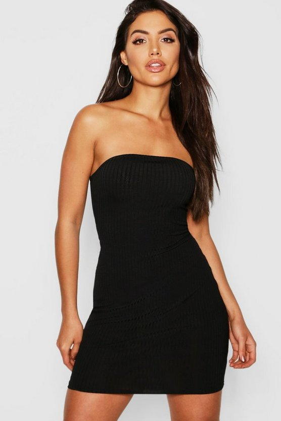 Black Jumbo Rib Bandeau Mini Dress