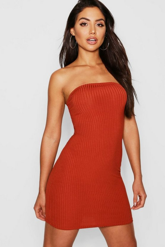 Jumbo Rib Bandeau Mini Dress
