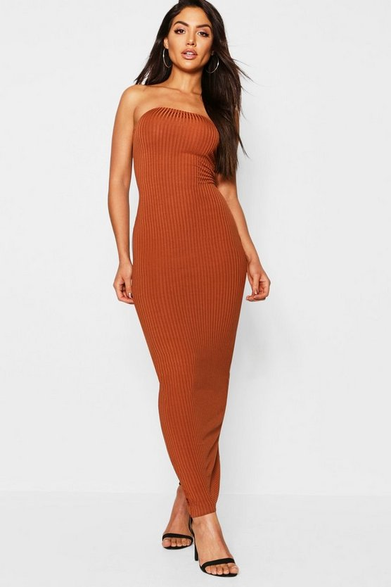 Womens Caramel Jumbo Rib Bandeau Midaxi Dress