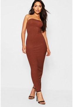 Womens Mocha Jumbo Rib Bandeau Midaxi Dress