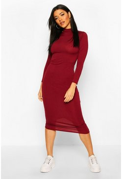 Womens Berry Jumbo Rib Roll Neck Midi Dress