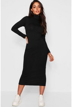 Jumbo Rib Roll Neck Midi Dress, Black