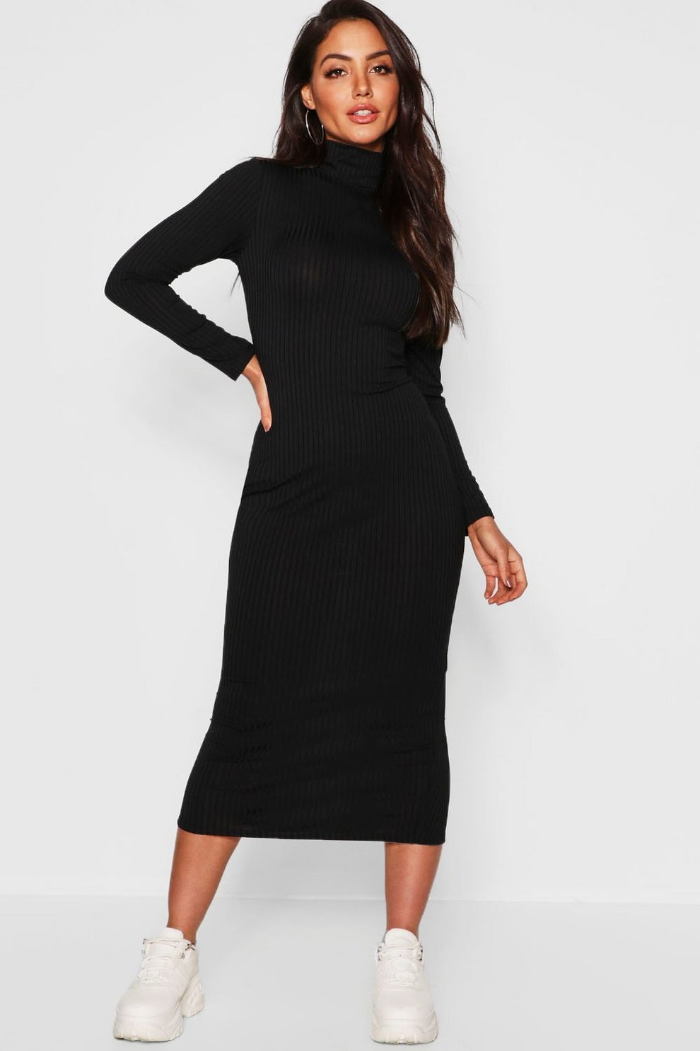e875d3221a Jumbo Rib Roll Neck Midi Dress