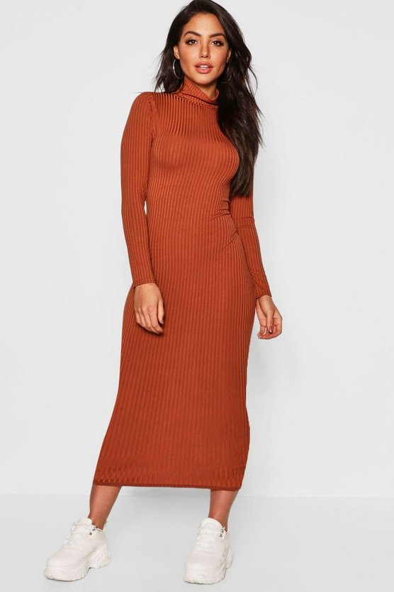 Caramel Jumbo Rib Roll Neck Midi Dress