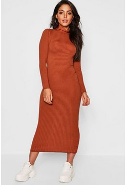 Jumbo Rib Roll Neck Midi Dress, Caramel, Donna