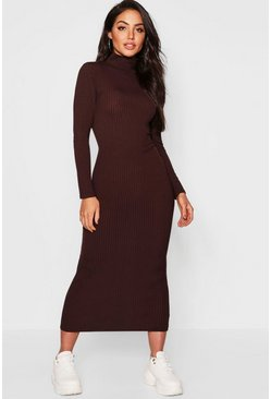 Womens Chocolate Jumbo Rib Roll Neck Midi Dress