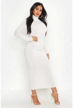 Jumbo Rib Roll Neck Midi Dress, Ecru