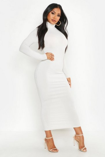 Ecru Jumbo Rib Roll Neck Midi Dress