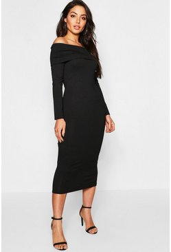 Womens Black Jumbo Rib Bardot Midi Dress
